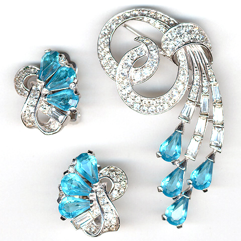 Boucher Pave and Aquamarine Swirls Pin and Clip Earrings Set