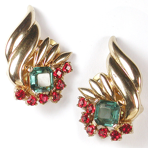 Boucher Gold Leaves Ruby and Blue Topaz Clip Earrings
