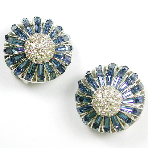 Boucher Pave and Invisibly Set Sapphires Fruit Button Clip Earrings