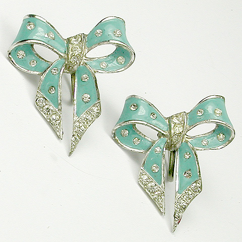 MB Boucher Turquoise Enamel Spangled Bow Screwback Earrings