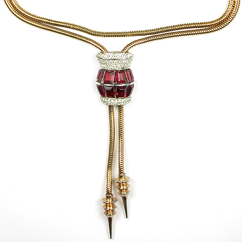 MB Boucher Pave and Ruby Baguettes Lantern with Golden Pendants Necklace