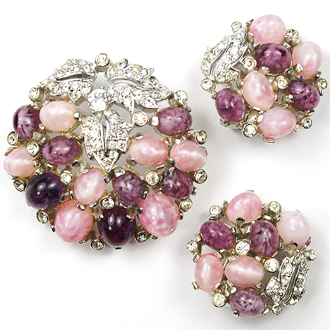 MB Boucher Amethyst and Pink Topaz Cabochons Circular Flowers and Fruit Pin and Clip Earrings Set