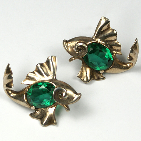 MB Boucher Sterling and Emerald Fish Screwback Earrings