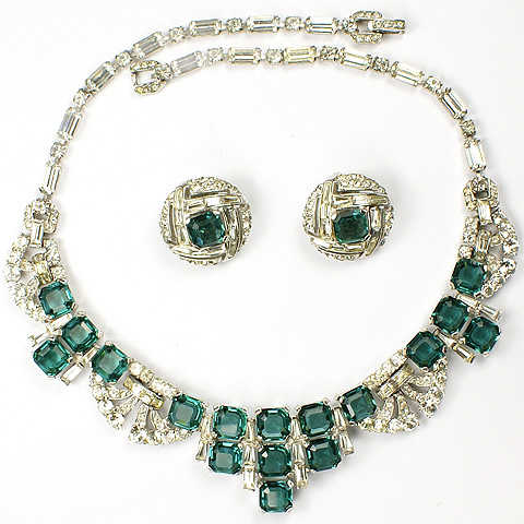 MB Boucher Pave and Emeralds Collar Necklace and Checkerboard Button Clip Earrings Set