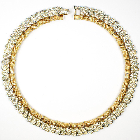 Boucher Gold Braids And Pave Shells Choker Necklace