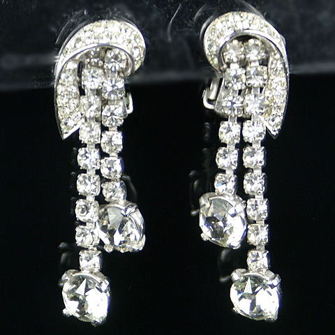 Boucher Pave Swirl and Double Diamante Pendants Clip Earrings