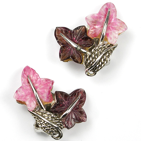 Boucher Pink Tourmaline and Amethyst Fruit Salad Ivy Leaves Clip Earrings