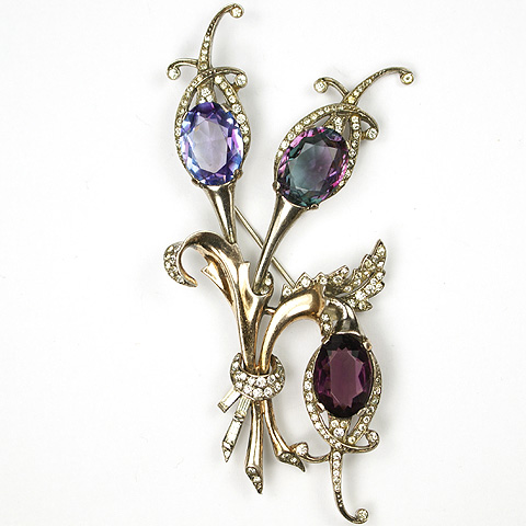 MB Boucher Sterling Dark and Pale Amethyst and Alexandrite Triple Flowers Triffid Pin