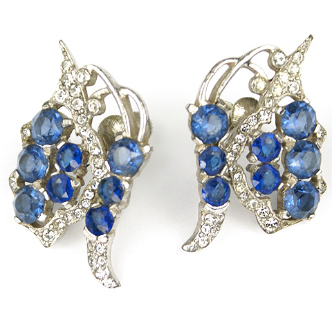 MB Boucher Pave and Sapphire Butterfly Screwback Earrings