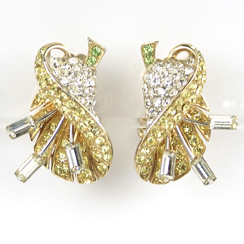 Boucher Peridot Citrine and Diamante Baguette Stamens Flower Clip Earrings