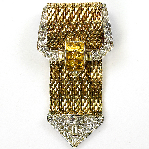 Boucher Gold Pave and Invisibly Set Citrines Garter Belt Buckle Pin Clip