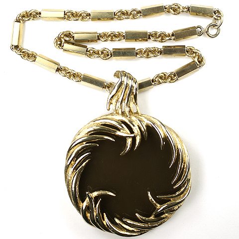 Boucher Gold Waves Circling a Smoky Topaz Disc Pendant Necklace