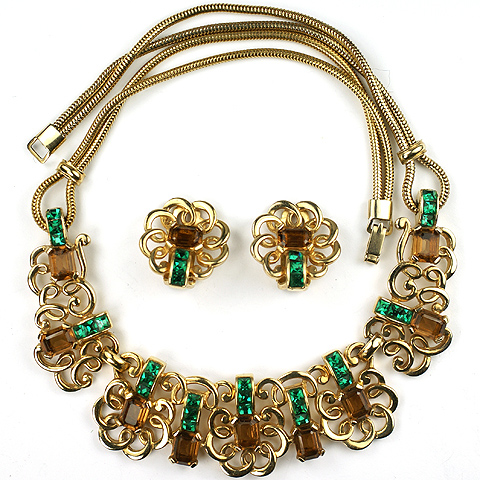 MB Boucher Gold Citrine and Invisibly Set Emerald Oriental Swirls Choker Necklace and Clip Earrings Set