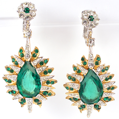 Boucher Gold Pave and Faceted Teardrop Emerald Starburst Pendant Clip Earrings
