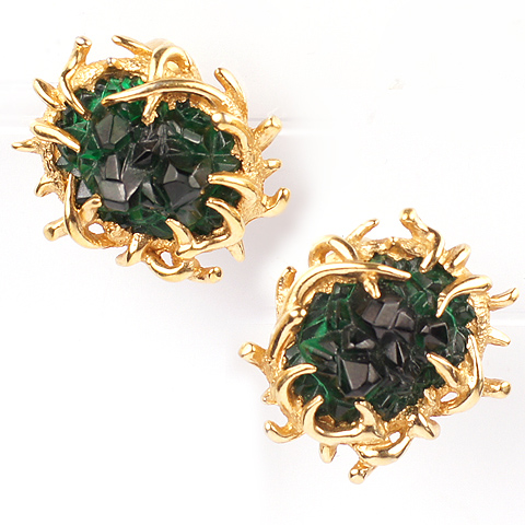 Boucher Gold and Emerald Poured Glass Clip Earrings