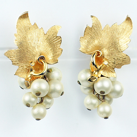 Boucher Gold Leaves and Pearl Grapes Clip Earrings