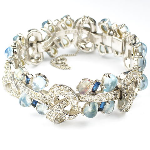 Boucher Moonstone Cabochons and Sapphires Pave Interlinked Bows Bracelet