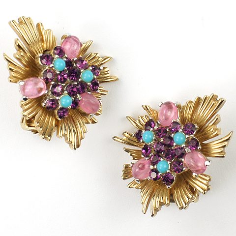 Boucher Gold Sunburst Amethysts and Turquoise Clip Earrings