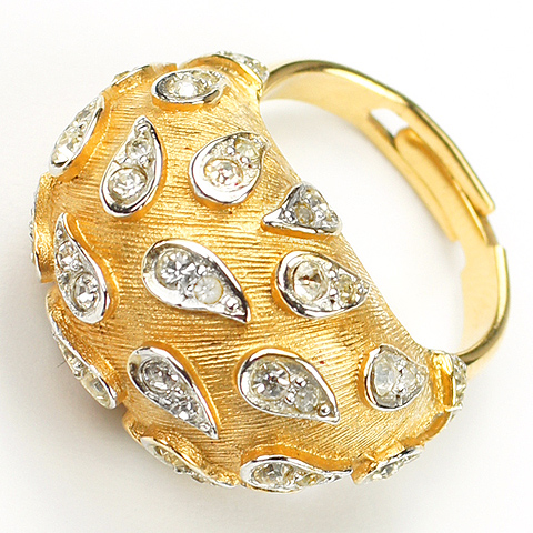 Boucher Gold and Pave Teardrop Spangles Adjustable Finger Ring