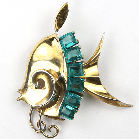 MB Boucher Sterling Gold and Square Cut Aquamarines Angelfish Pin