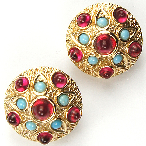 Boucher Gold Emerald and Turquoise Cabochons Shield Button Clip Earrings