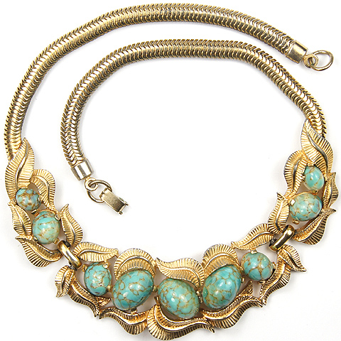 Boucher Golden Leaf Swirls and Marbles Turquoise Cabochons Necklace
