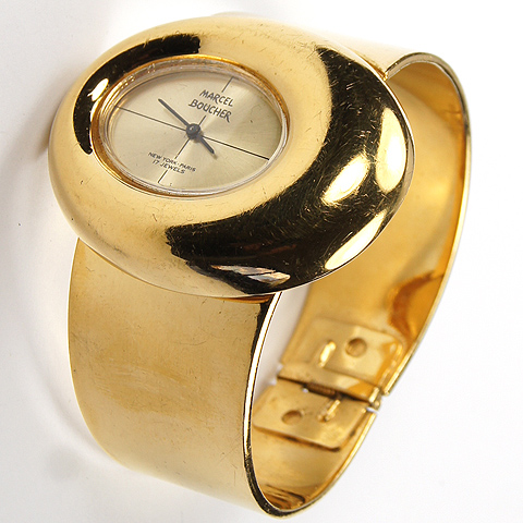 Marcel Boucher Gold Offset Elipse Watch Bangle Bracelet