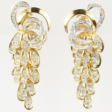 Boucher Gold and Pave Leaves and Swirls Chandelier Clip Earrings