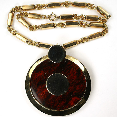 Boucher Gold and Tortoiseshell Modernist Rising Sun Pendant Necklace