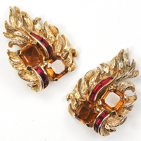 Boucher Gold Topaz and Ruby Baguettes Floral Leaf Clip Earrings