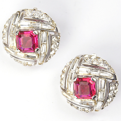 MB Boucher Pave Ruby and Baguettes Checkerboard Button Clip Earrings
