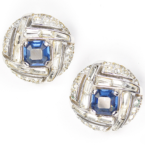 MB Boucher Pave Baguettes and Sapphire Checkerboard Button Clip Earrings