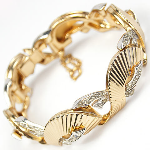 Boucher Gold Swirls and Pave Bows Bracelet