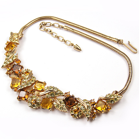 Boucher Square Cut Citrine and Topaz Floral Necklace