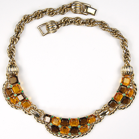 Boucher Gold Ropes and Chains Citrine Topaz and Peridot Checkerboard Choker Necklace