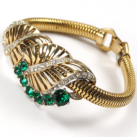 Boucher Gold and Pave Leaf Swirls and Emeralds Gaspipe Bracelet