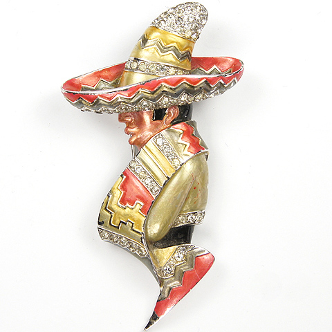 MB Boucher Metallic Enamel Mexican in a Sombrero Pin Clip