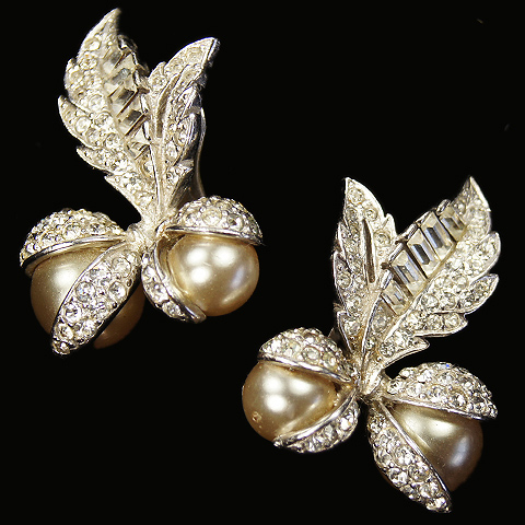MB Boucher Pave and Pearls Opening Berries Clip Earrings