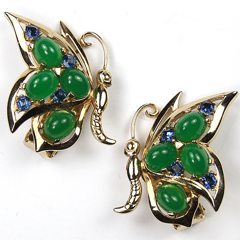 Boucher Gold and Emerald Cabochon Butterfly Clip Earrings