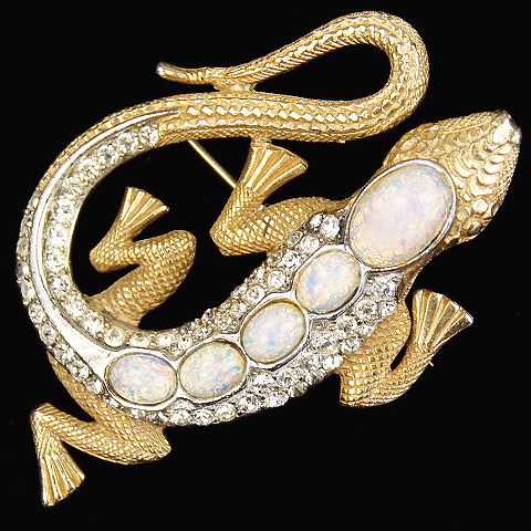 MB Boucher Gold Opal Backed Lizard Pin