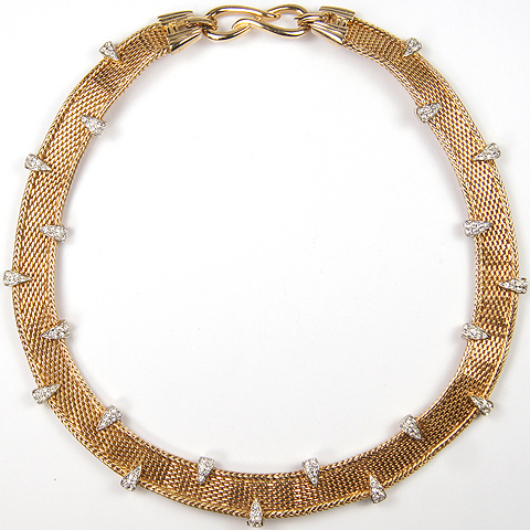 Boucher Gold Basketweave and Pave Chevrons Necklace