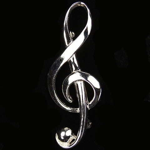 Boucher Silver Musical Treble Clef Pin