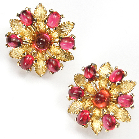 Boucher Gold Leaves and Ruby Cabochons Fiower Clip Earrings