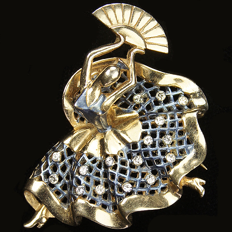MB Boucher (unsigned) Gold and Metallic Enamel Dancer with a Fan Pin