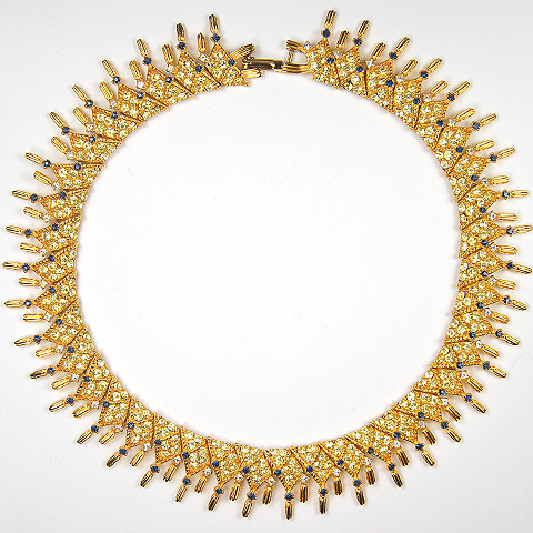 Boucher Le Couturier Citrine and Sapphire Triangles with Swags Articulated Choker Necklace