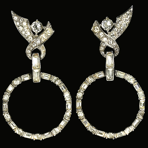 Boucher Pave and Baguettes Bowknots and Pendant Hoops Screwback Earrings