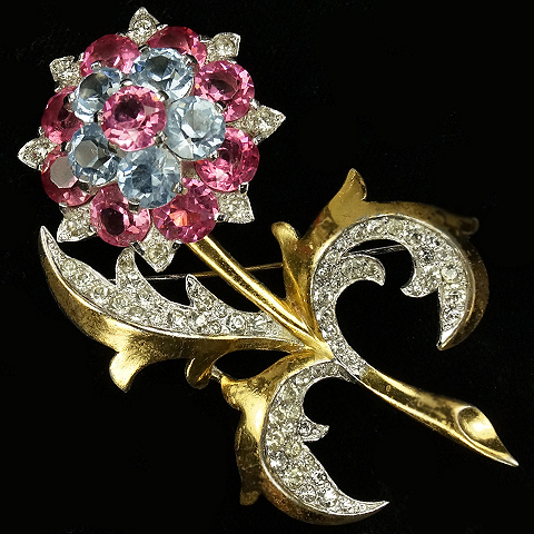 MB Boucher Gold Pave and Pink and Blue Topaz Flower Spray Pin
