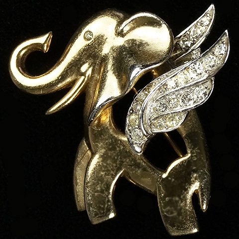 MB Boucher Gold and Pave Winged Elephant Pin