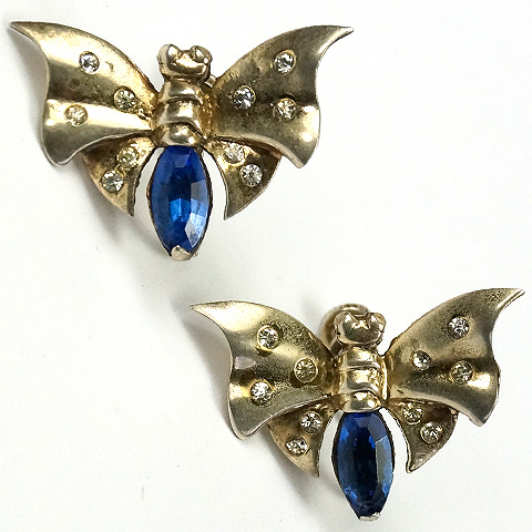 MB Boucher Sterling Spangles and Sapphires Butterfly Screwback Earrings