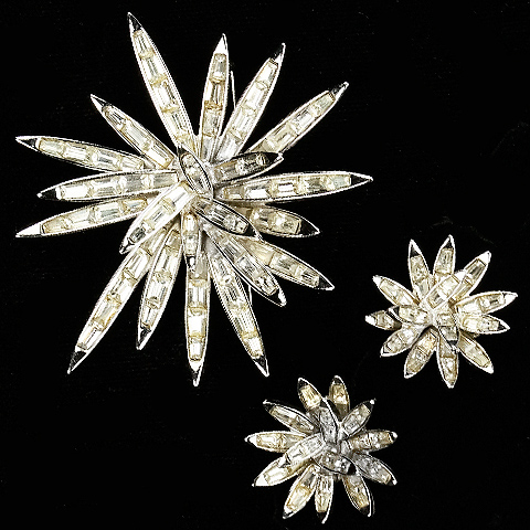 Boucher Diamante Baguettes Starburst Pin and Clip Earrings Set